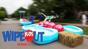 Dad Builds Wipeout Kids Course On Street